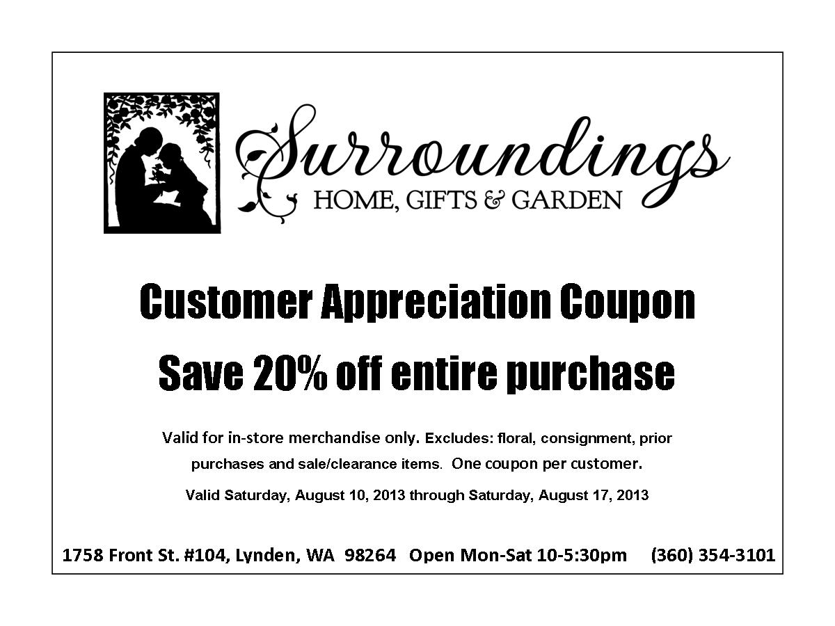 Customer Appreciation Coupon Aug sale