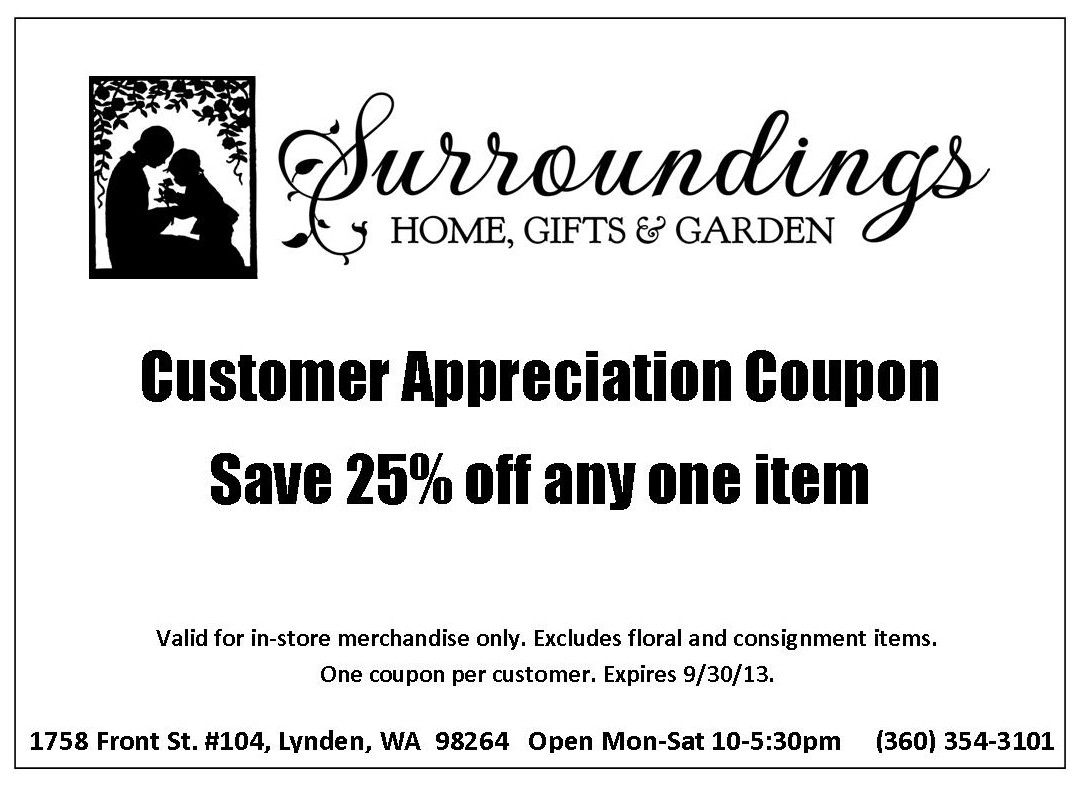 Customer Appreciation Coupon Sept 2013