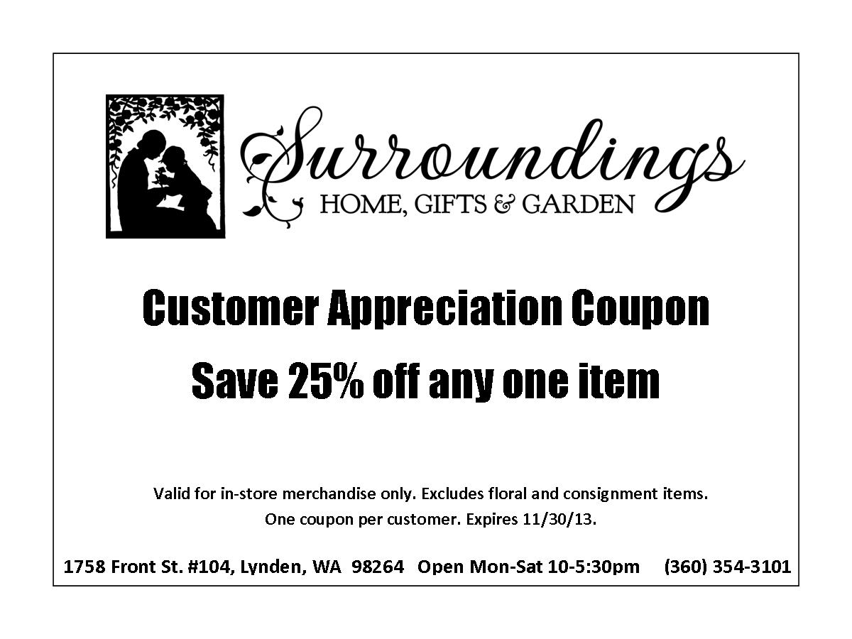 Customer Appreciation Coupon Nov 2013