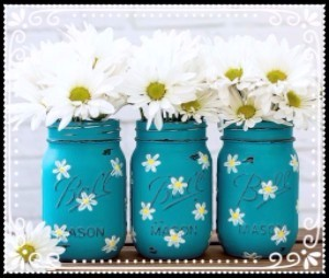 Three blue mason jars edited
